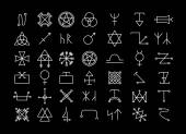 Religion and philosophy, spirituality or occultism icons — Stock Vector