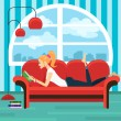 Beautiful young woman reading book on sofa — Stock Vector #74202207