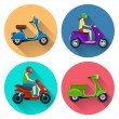 Scooter transport flat icons — Stock Vector #74202317