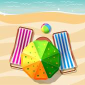 Beach chair and umbrella top view — Stock Vector