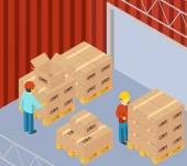 Warehouse with cardboard boxes on pallets — Stock Vector