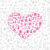 Love shopping seamless vector background — Stock Vector