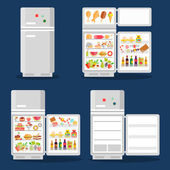 Opened refrigerator with food in flat style — Stock Vector