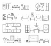 Home related icons. Furniture for different rooms — Stock Vector