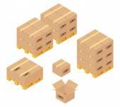 Karton kutular depoda. depolama, dağıtım ve lojistik hizmetleri — Stok Vektör