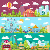 Flat design conceptual city banners with carousels — Stock Vector