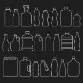 Line glass plastic bottles and other containers icons set — Stock Vector
