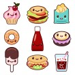 Kawaii fast food and fruit — Stock Vector #77549752