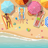 Beach top view background with sunbathers men and women — Stock Vector