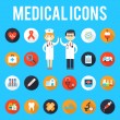 Medical tools and medical staff flat icons — Stock Vector #78134786