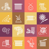 Knitting icons set — Stock Vector