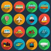 Transportation flat icons set — Stock Vector
