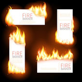 Set of advertisement banners with spurts flame — Stock Vector