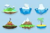 Vector poly islands set — Stock Vector