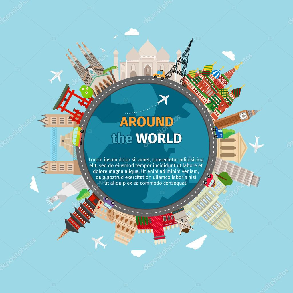 Travel around the world postcard stock vector mssa for All inclusive around the world trip