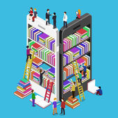 Isometric online mobile library — Stock Vector