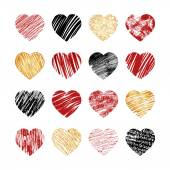 Vector hand drawn heart icons for valentines and wedding — Stock Vector