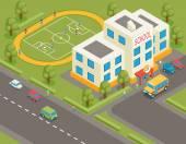 Isometric school or university vector building. 3d student avatar, bus. Flat design — Stock Vector