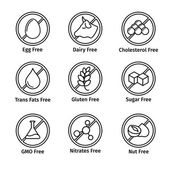 Food diet and GMO free icons set in line design style — Stock Vector