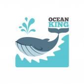Vector whale logo or poster — Stock Vector