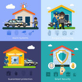 Home security system flat vector background concepts — Stock Vector