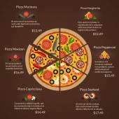 Round pizza with different sort slices and ingredients in flat vector style — Stock Vector