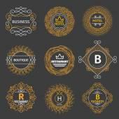 Vector vintage logos for hotel, restaurant, business or boutique. Monogram linear set — Vetor de Stock