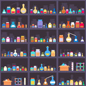 Alchemical elixirs or chemicals and medications on cabinet shelves. Seamless background — Stock Vector