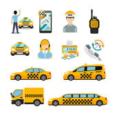Flat taxi icons. Transportation service — Stock Vector