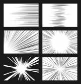 Comic horizontal and radial speed lines vector set — Stock Vector