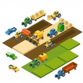 Isometric agricultural equipment, farm tractors, combain, trailers and pickup — Stock Vector