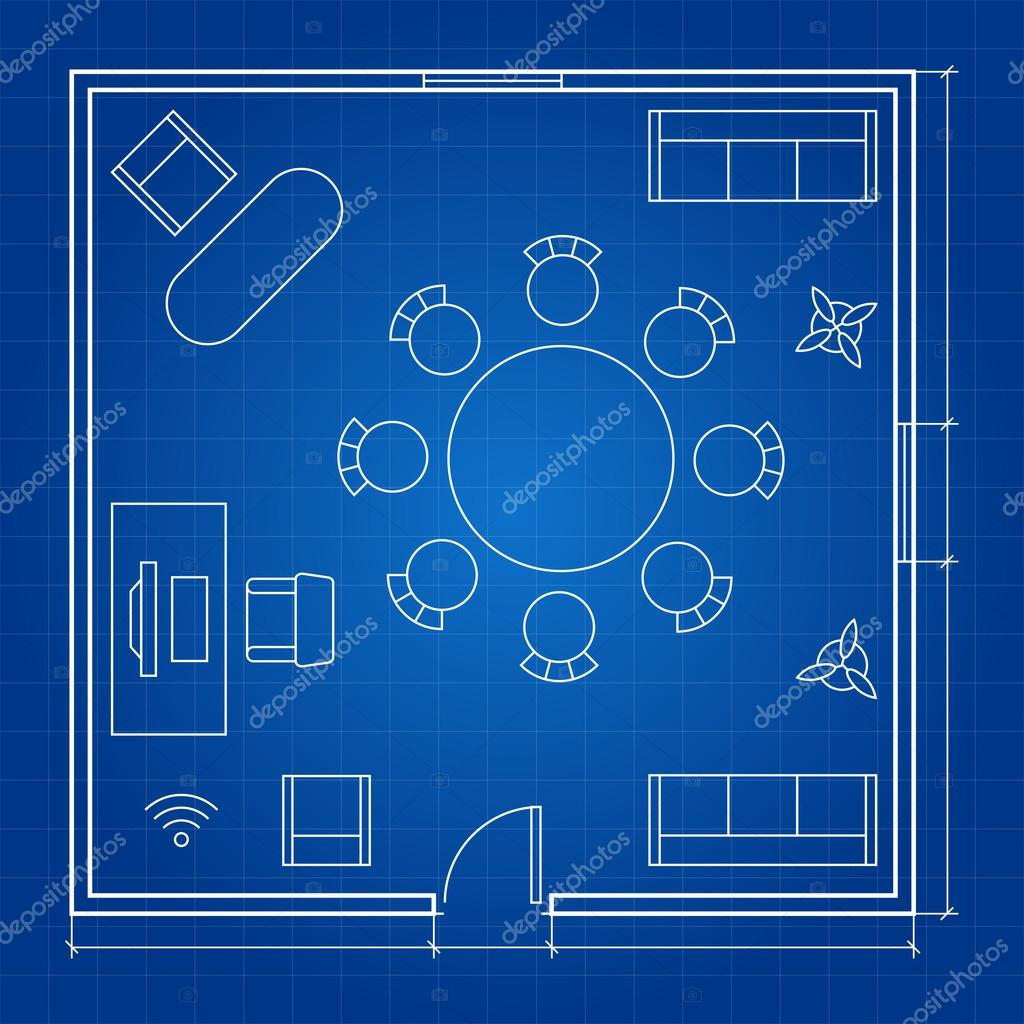 office floor plan with linear vector symbols conference business outline furniture icons stock vector business office floor