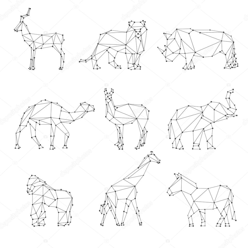 Line Art Animals Tattoo : Geometric animals silhouettes — stock vector mssa