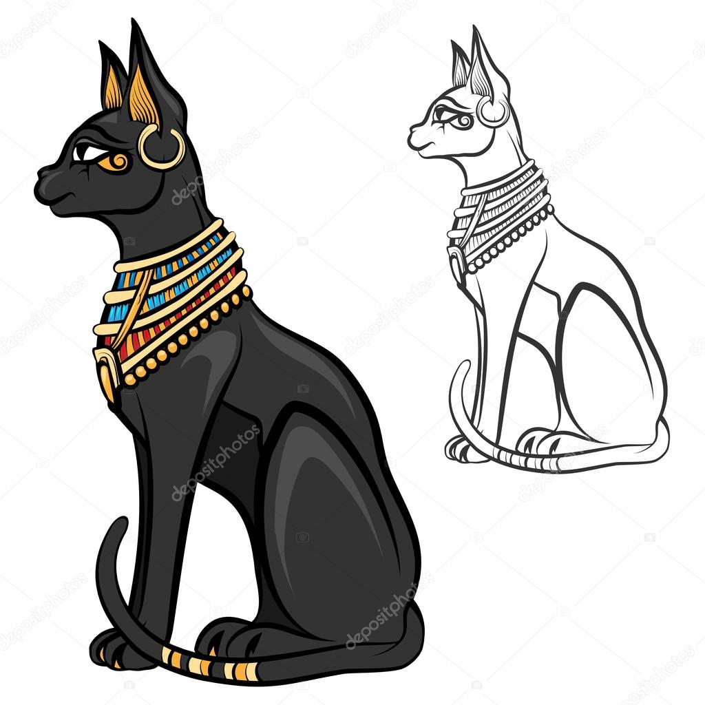 Египетские кошки рисунок карандашом