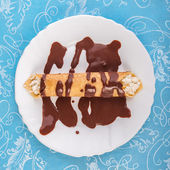 Rolled Crepe with chocolate — Stock Photo