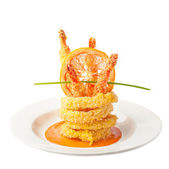 Fried Calamari with prawns  — Stock Photo