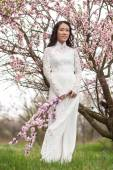 Vietnamese girl in Ao Dai - almond blossoms — Stock Photo