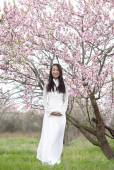 Happy Vietnamese girl in White Ao Dai — Stock Photo