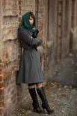 Beautiful stylish woman  in grey coat outdoors — Stock Photo