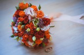 Flower wedding bouquet for bride on white background — Stock Photo