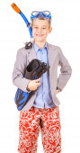 Kid businessman wearing fins, snorkel and goggles — Stock Photo