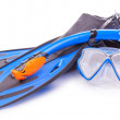 Blue diving goggles,snorkel and flippers. isolated — Stock Photo #59160993