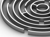 3D steel Circular maze — Stock Photo