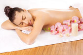Pretty young women relaxing in the spa salon — Stock Photo