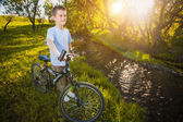 Happy funny kid on bicycle. Active Leisure — Stock Photo