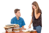 Sister teaching her brother — Stock Photo