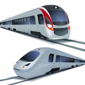 High speed trains, isolatetd on white background. — Stok Vektör