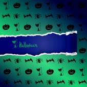Green background with pattern of Halloween characters — Stock Vector