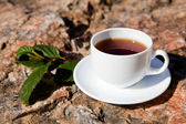 Cup on big stone — Stock Photo