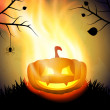 Halloween background with burning pumpkin — Stock Vector #53483321
